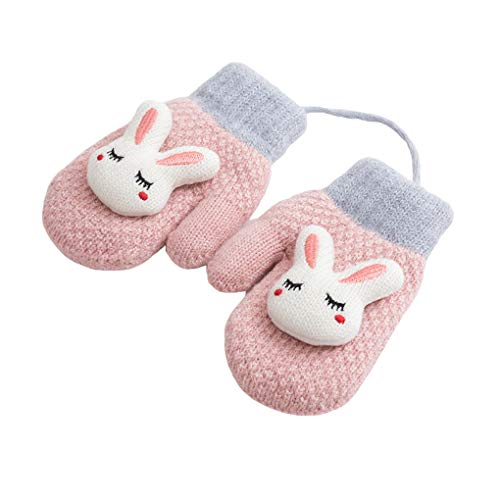 Toddler Baby Knitted Gloves Cute Winter Fleece Ski Mittens Xmas Gift for Kids