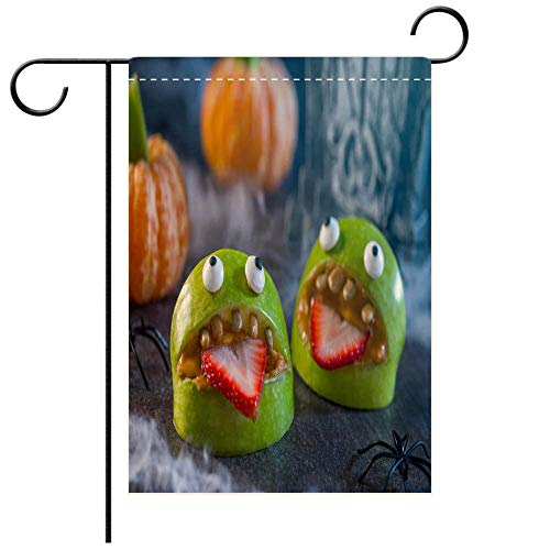 BEICICI Custom Personalized Garden Flag Outdoor Flag Healthy Halloween Apple Monsters Fruit Kids Treat Best for Party Yard and Home Outdoor Decor -
