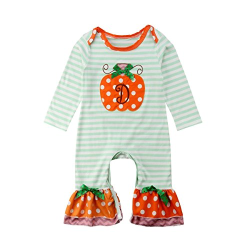 Halloween Toddler Jumpsuit Infant Baby Girls Long Sleeve Pumpkin Striped Ruffle Romper One-Piece Outfit]()