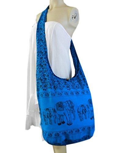 BTP! Elephant Floral Print Sling Crossbody Shoulder Bag Purse Hippie Hobo Thai Cotton Gypsy Bohemian Large (Royal Blue EEL7)