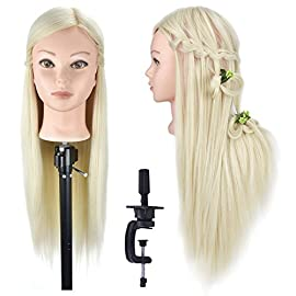 26″- 28″ Mannequin Head Hair Styling Training Head Manikin Cosmetology Doll Head Synthetic Fiber Hair (Table Clamp Stand Included)