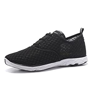 Kenswalk Men's Aqua Water Shoes Lightweight Slip On Beach Shoes (US 13, Black and White)
