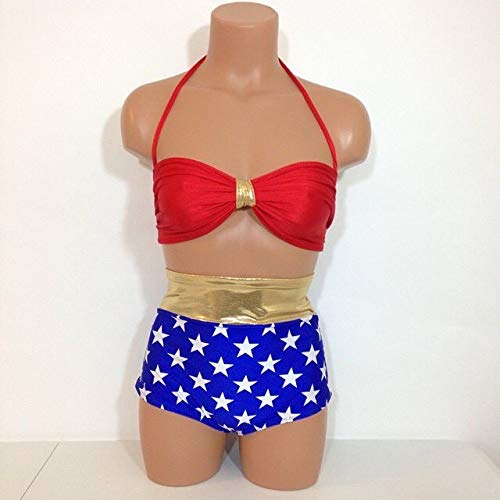 Women's wonder woman inspired bathing suit]()