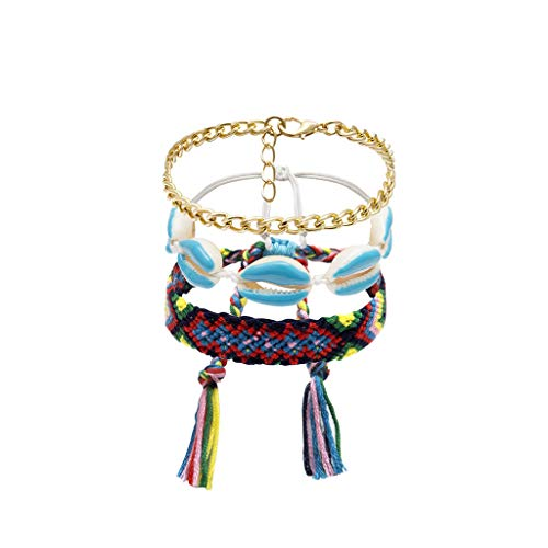 Goddesslili Bohemian Bracelet for Women Girlfriend 3 Pieces Wind Weave Painting Oil Shell Vintage Retro Wedding Engagement Anniversary Jewelry Gift Under 5 Dollars