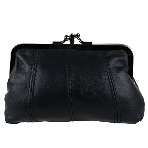 Oakridge Women's Leather Clasp Coin Purse By 3 Colours Zipped Section Handy Onesize Black - Leather Three Section