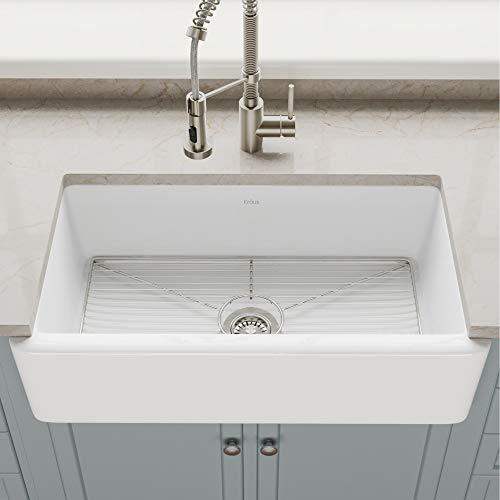 KRAUS Turino 33-inch White Fireclay Farmhouse Apron Reversible Single Bowl Kitchen Sink with Bottom Grid KFR1-33GWH ()