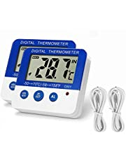 Fridge Freezer Thermometer Max/Min Memory Refrigerator Thermometer High & Low Temperature Alarms Settings with LED Indicator Fridge Thermometer with Magnetic,Stander, 2pack Nithing