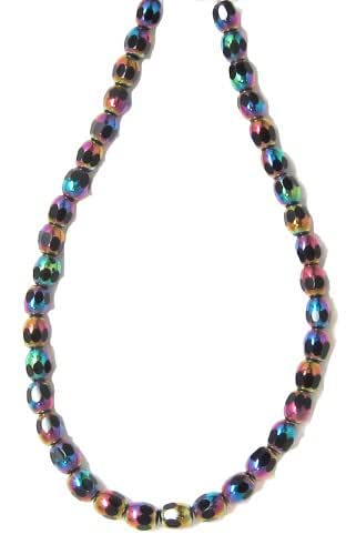Bead Collection 40209 Glass Faceted Jet Rainbow Ova Beads, 9-Inch