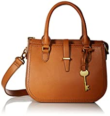 This leather satchel boasts two gusseted slide pockets, double handles and a detachable and adjustable shoulder strap.