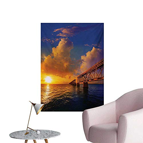 Anzhutwelve Landscape Photographic Wallpaper Florida Keys Old Bridge Sunset at Bahia Honda Park USA Cloudscape Picture PrintOrange Blue W32 xL36 Poster Paper