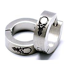Stainless Steel Earrings Huggie Black Hoop Clip on Hanging Earrings Skull Symbol Cuff Earrings Squared Silver
