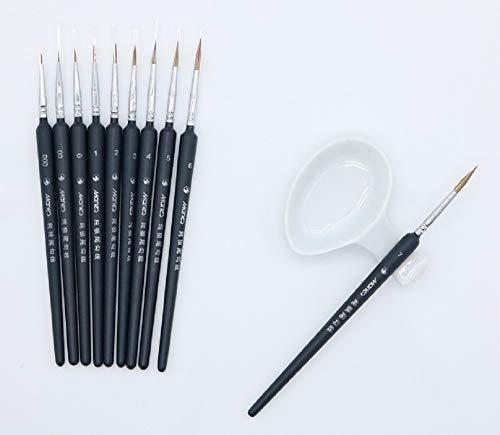 (Plastic Model & Figures Detailed Paint 10 Brushes Plate with Brush Holder Set)