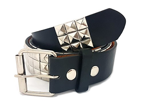 Classic Studded Leather Belt (Classic Pyramid Studded Leather Belt (Size Large 36-40 inch waist))
