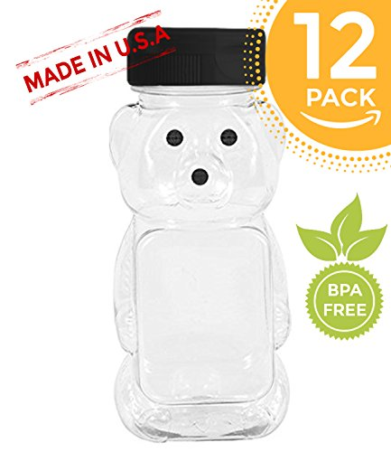(Clearview Container 12 Pack Honey bear with Flip Top Lid Plastic Squeeze Bear 8 oz Black Caps)