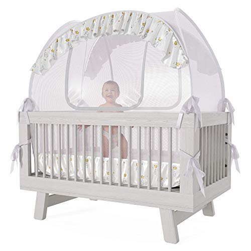 Nahbou Baby Crib Tent - Crib Canopy: Net Cover Crib Tent to Keep Baby from Climbing Out and Safety Crib Tent to Keep Cats Out. Popup Crib Net and Crib Cover Protects Against Mosquito Bites & Toddlers ()