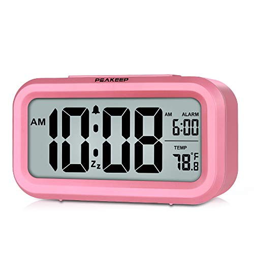 PEAKEEP Smart Night Light Digital Alarm Clock with Indoor Temperature, Battery Operated Desk Small Clock (Pink)