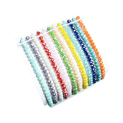 eeCrystal 8mm Glass Rondelle Beads 1 Box 12 Colors 396 Pieces Opal AB Color ()