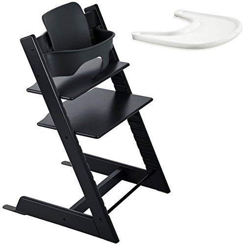 Stokke Tripp Trapp High Chair, Baby Set - Black & Tray - White (Stokke Tripp Trapp High Chair Complete Bundle)