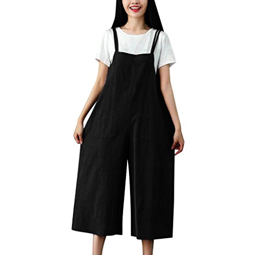 Zainafacai Ladies Fashion Women's Stretchy Wide Leg Palazzo Lounge Pants Dungarees Casual Jumpsuits Sling Trousers Rompers (Black, M) ()