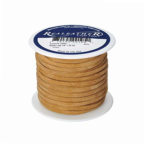Realeather Crafts Suede Lace, 0.125-Inch Wide and 25-Yard Spool, -
