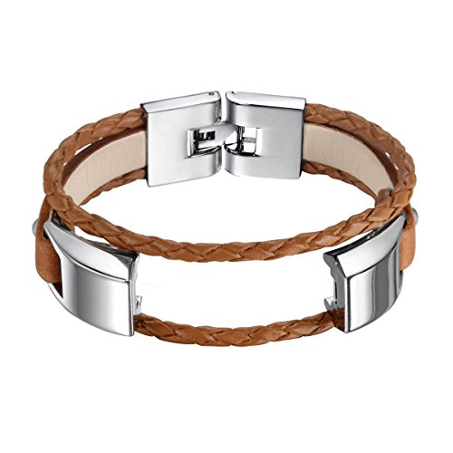 bayite Leather Bands Compatible Fitbit Alta and Alta HR, Adjustable Metal Clasp Accessory Bracelet, Brown Small 5.5 - 6.7