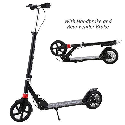 Hikole Adult Scooter Upgrade | Adjustable Height, Foldable, Hand Disc Break + Rear Fender Brake, Lightweight Aluminium Alloy Commuter Big Wheels Scooter for Adults Teens