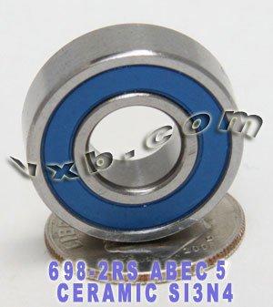 698-2RS Bearing 8x19x6 Si3N4 Ceramic ABEC-5 Miniature Ball Bearings