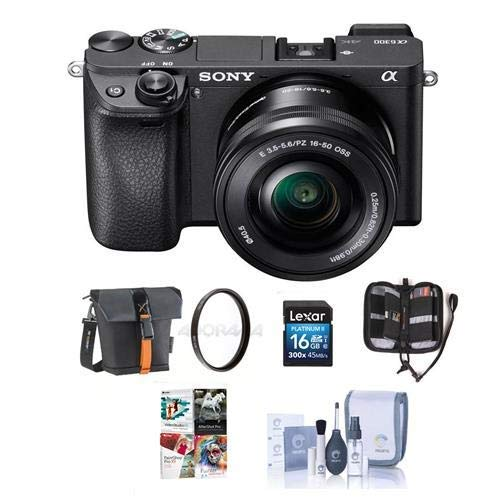 Sony Alpha a6300 Mirrorless Digital Camera Body Black with 16-50mm Lens - Bundle with 16GB Class 10 SDHC Card, Holster Case, 40.5mm UV Filter, Cleaning Kit, Memory Wallet, PC Software Package