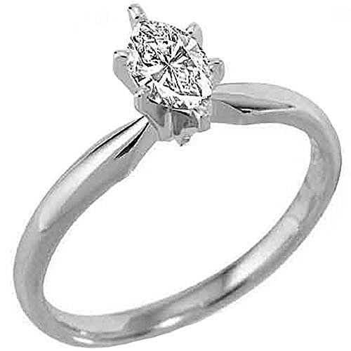 14k White Gold .30 Carats Solitaire Marquise Diamond Engagement Ring ()
