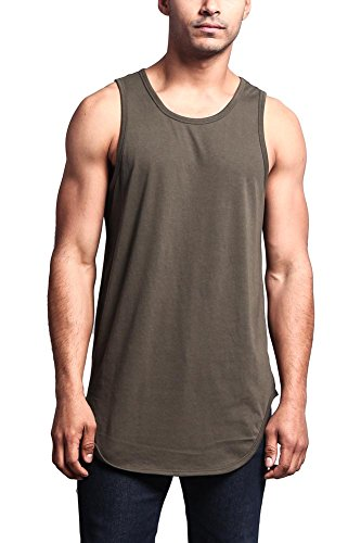 Victorious Solid Color Long Length Curved Hem Tank Top TT47 - OLIVE - Medium - (Elongated Tank)