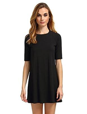 ROMWE Women's Short Sleeve Casual Loose Fit T-Shirt Tunic Dress Swing Dress