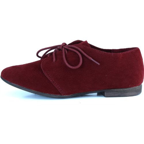 Women's Classic up Shoes Lace Sneaker Ballet Oxford Loafers Red Flat pa7pxwr