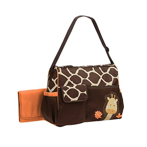 Windaze LLC 3 Pieces Large Capacity Waterproof Giraffe Print Mummy Diaper Bag Totes with Changing Mat