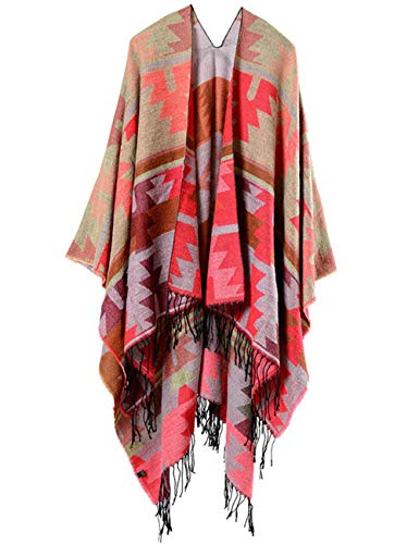 XXXITICAT Women's Native American Trendy Cashmere Plaid Pattern Wrap Shawl Cardigan Poncho Cape Scarf(RE)