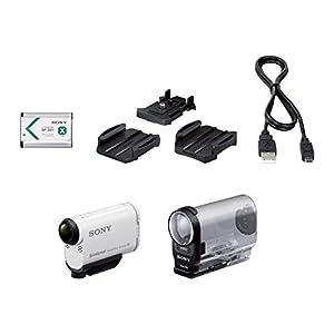 Sony HDR-AS200V Full HD Actioncam (ZEISS Tessar Objektiv mit 170 Ultra-Weitwinkel, verbesserter optical Steadyshot, Vollständige Sensorauslesung ohne Pixel Binning, Exmor R, Stereo Mikrofon) weiß