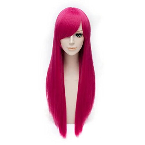[Halloween Magenta Basic Wig 27 Inches Long Straight Heat Resistant Wig+Cap] (27 Dresses Costumes)