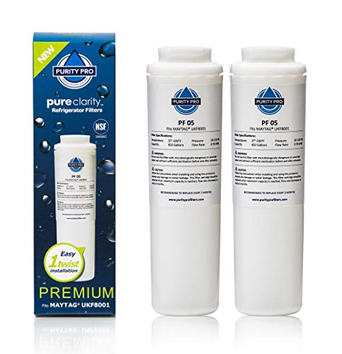 (Replacement Refrigerator Water Filter - 2 Pack - Premium Kitchen Carbon Fridge Filter Kit Compatible with Maytag UKF8001 Samsung Amana Jenn-Air Kenmore KitchenAid Puriclean 2 Whirlpool - White)