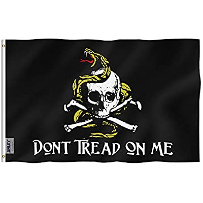 Anley Fly Breeze 3x5 Foot Don't Tread On Me Pirate Flag - Vivid Color and UV Fade Resistant - Canvas Header and Double Stitched - Jolly Roger Flags Polyester with Brass Grommets 3 X 5 Ft