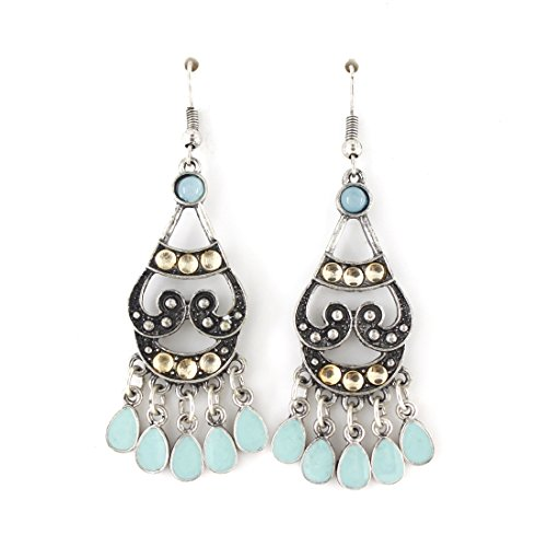 Shanghai Girl Costume (Simple Silver Tone Mint Green Chandelier Earrings)