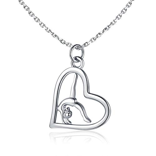 Flipping Gymnast Necklace 925 Sterling Silver Team USA Gymnastics Girl Fashion Jewelry Pendant Necklace Ballerina Gymnastics for Mom Gifts