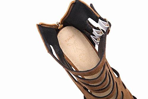 Marrone MissSaSa Platform Sandali con Nubuck da Sala Donna Peep Toe vqP84q