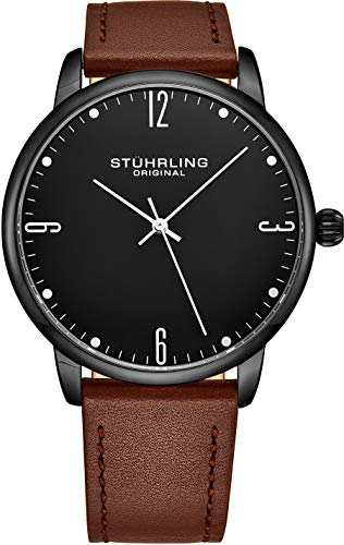 Stuhrling Original Watch for Men Brown Leather Strap - Black Dial with White Accents and Black PVD Case, 3997B Watches for Men Collection