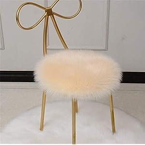 Trayosin Cojín de peluche para silla de oficina, cojín redondo (beige, 30 x 30 cm)