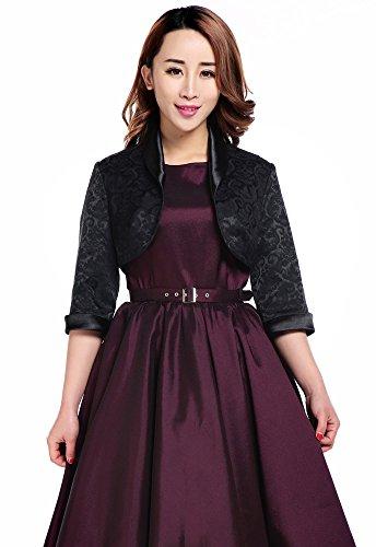 Plus Elegant Jacquard Black Satin Trimmed Cropped 3/4 Sleeve Party Bolero Jacket (26)