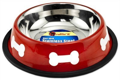 Westminster Pet Products 19216 Pet Bowl, Red/White Stainless Steel, 16-oz. - Quantity 6