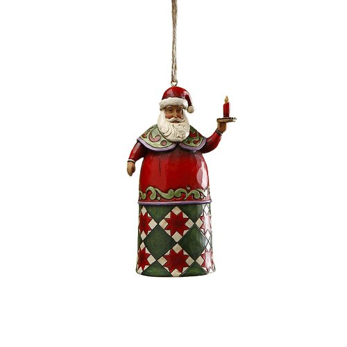 - Enesco Jim Shore Heartwood Creek Santa with Candle Hanging Ornament, 4-3/4 Inches