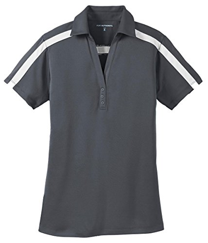 Port Authority Ladies Silk Touch Performance Colorblock Stripe Polo, Steel Grey/ White, Small