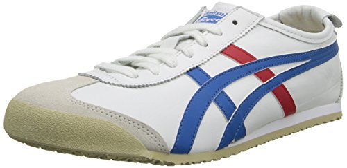 Tiger Leather Sneakers (Onitsuka Tiger Mexico 66 Fashion Sneaker, White/Red/Blue, 8 M Men's US/9.5 Women's M US)