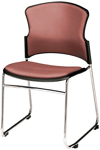 Wine Vinyl Armless Reception Chair - OFM Contract Anti-Microbial Vinyl Stack Chair, Wine