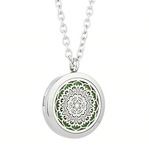 (JOYMIAO Essential Oil Diffuser Necklace Aromatherapy Locket Magnetic Closure Pendant Jewelry Sets 24